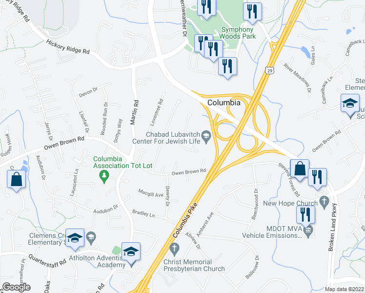 map of restaurants, bars, coffee shops, grocery stores, and more near 6118 Covington Road in Columbia
