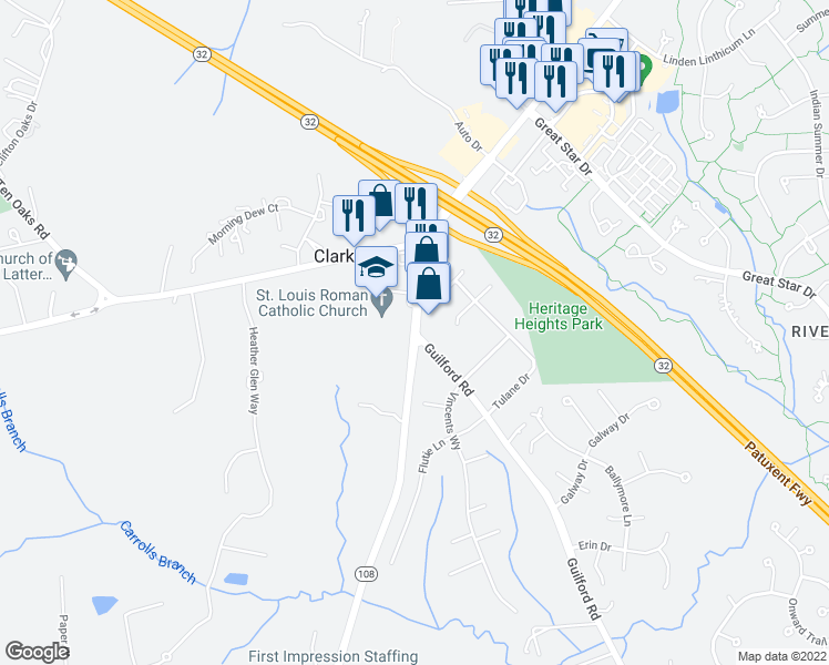 map of restaurants, bars, coffee shops, grocery stores, and more near 12345 Wake Forest Rd in Columbia