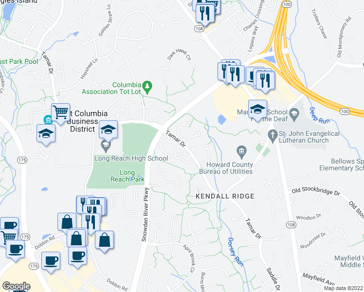 map of restaurants, bars, coffee shops, grocery stores, and more near 8373-8399 Tamar Drive in Columbia