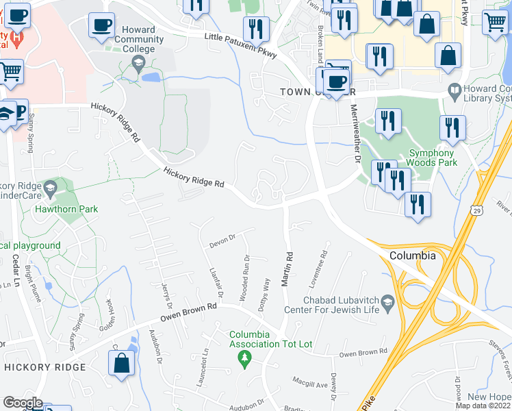 map of restaurants, bars, coffee shops, grocery stores, and more near 6208 Devon Dr in Columbia