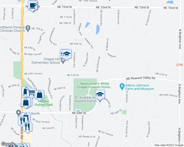 map of restaurants, bars, coffee shops, grocery stores, and more near 3701 NE 67th St in Kansas City