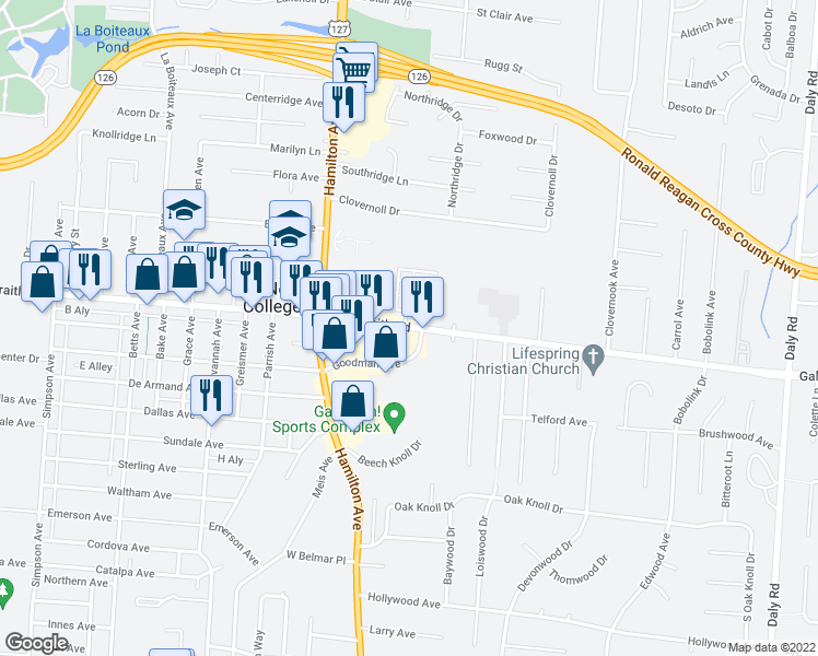 map of restaurants, bars, coffee shops, grocery stores, and more near 1560 West Galbraith Road in Cincinnati