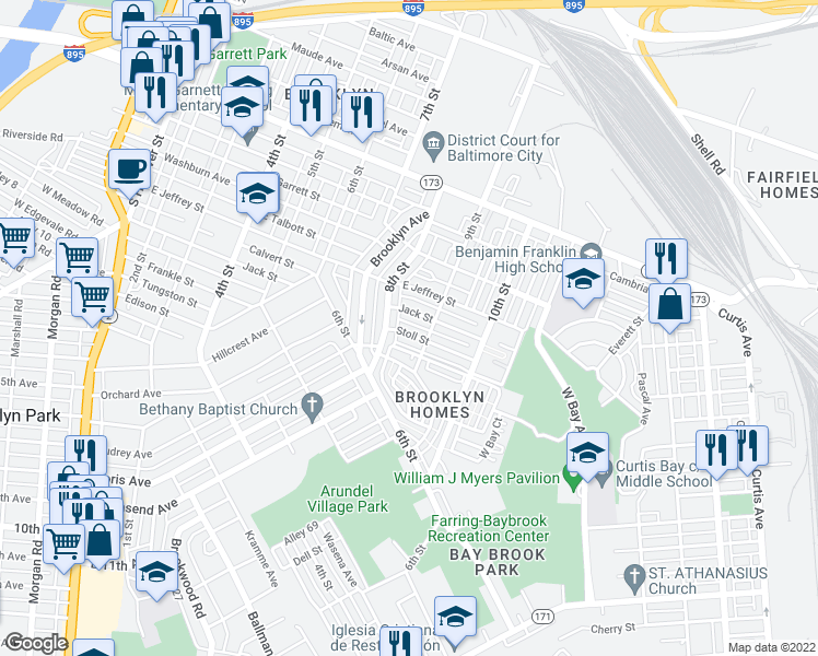 map of restaurants, bars, coffee shops, grocery stores, and more near 810 Stoll Street in Baltimore