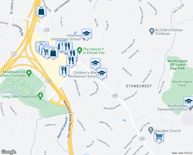 map of restaurants, bars, coffee shops, grocery stores, and more near 4445 Montgomery Road in Ellicott City