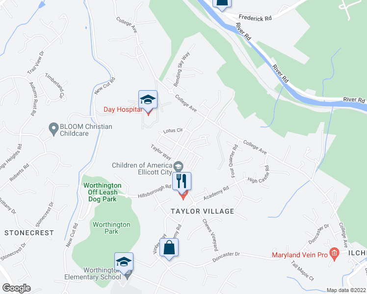 map of restaurants, bars, coffee shops, grocery stores, and more near 8125 Yellow Pine Drive in Ellicott City