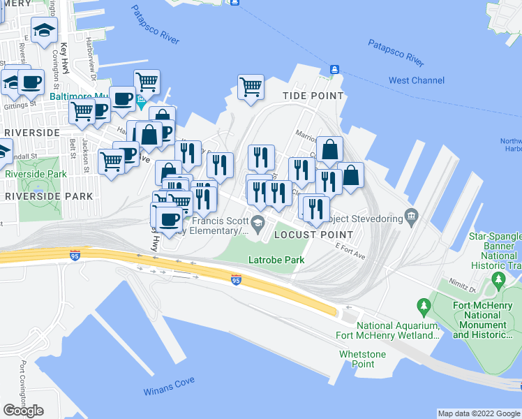 map of restaurants, bars, coffee shops, grocery stores, and more near 1425 East Fort Avenue in Baltimore