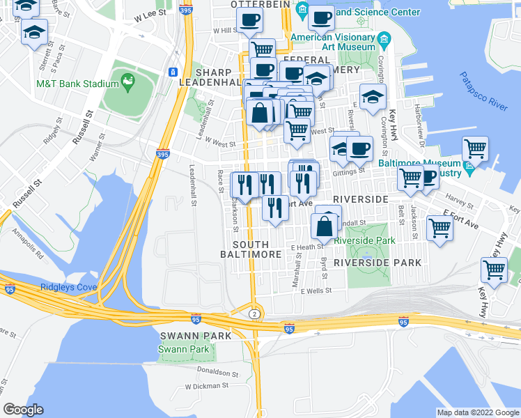 map of restaurants, bars, coffee shops, grocery stores, and more near 9 W Fort Ave in Baltimore