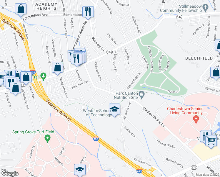 map of restaurants, bars, coffee shops, grocery stores, and more near 206 Preston Ct in Catonsville