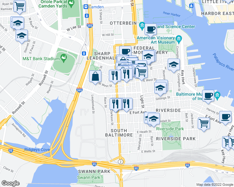 map of restaurants, bars, coffee shops, grocery stores, and more near S Hanover St & W Ostend St in Baltimore