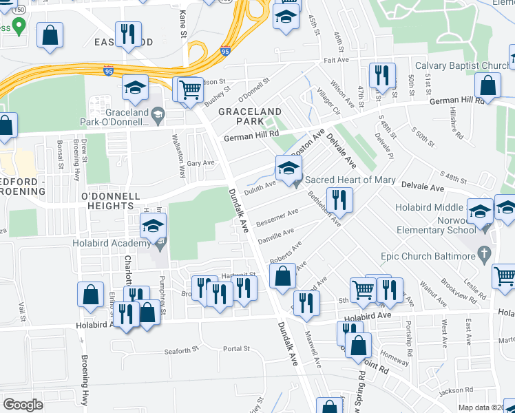 map of restaurants, bars, coffee shops, grocery stores, and more near 1411 Dundalk Ave in Baltimore