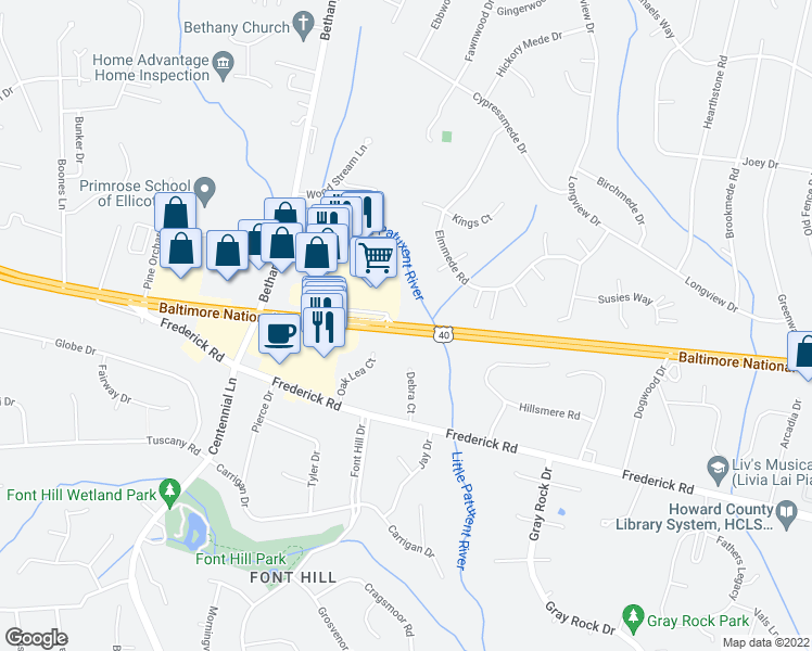 map of restaurants, bars, coffee shops, grocery stores, and more near 10002-10026 Baltimore National Pike in Ellicott City