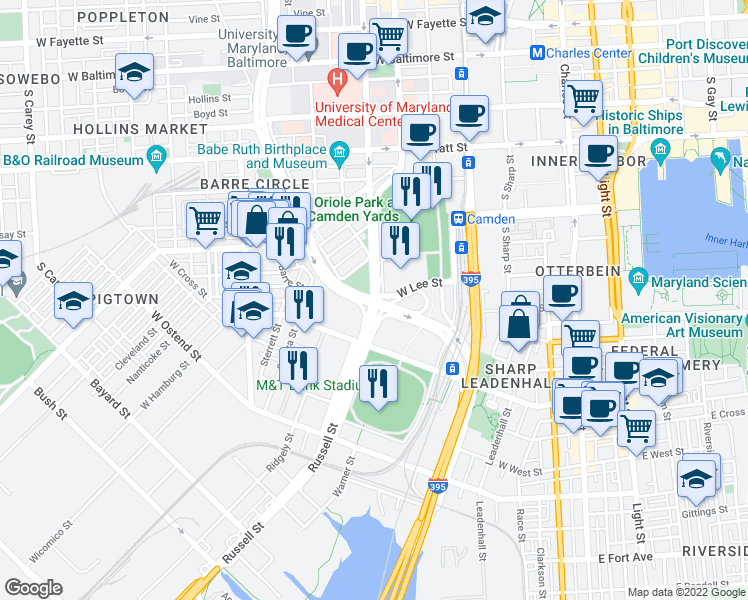 map of restaurants, bars, coffee shops, grocery stores, and more near Washington Blvd in Baltimore