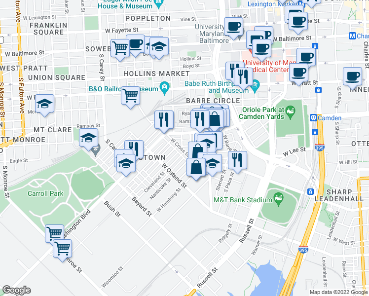 map of restaurants, bars, coffee shops, grocery stores, and more near 1132 West Cross Street in Baltimore