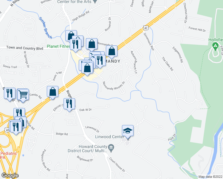 map of restaurants, bars, coffee shops, grocery stores, and more near 3182 Normandy Woods Dr in Ellicott City