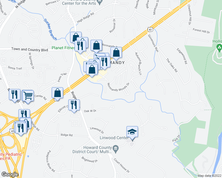 map of restaurants, bars, coffee shops, grocery stores, and more near 3166-3218 Normandy Woods Dr in Ellicott City