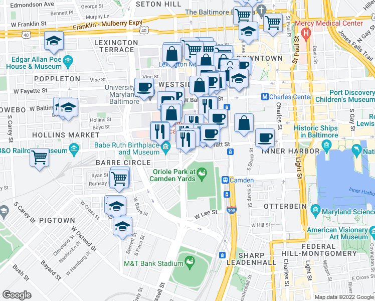 map of restaurants, bars, coffee shops, grocery stores, and more near 351 West Camden Street in Baltimore