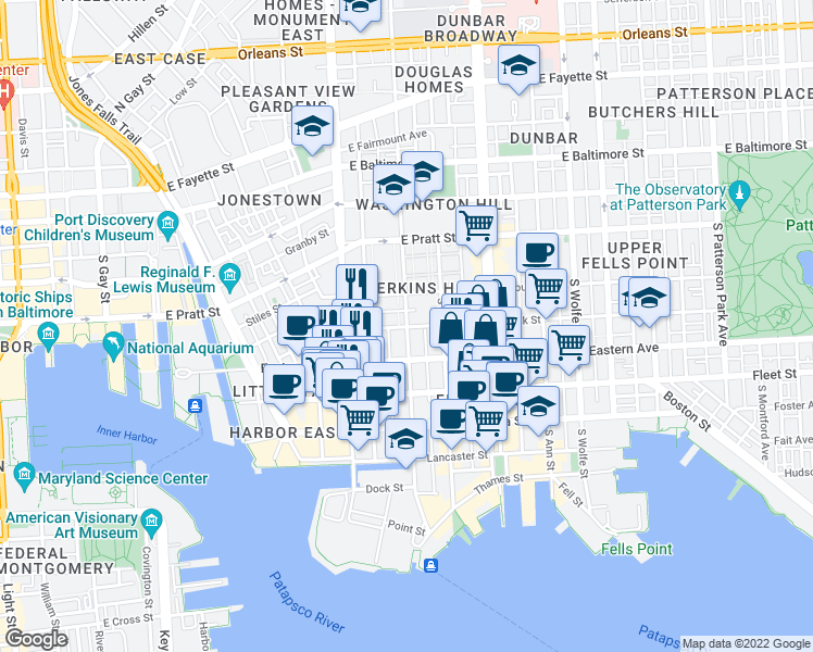 map of restaurants, bars, coffee shops, grocery stores, and more near Bank St & S Caroline St in Baltimore