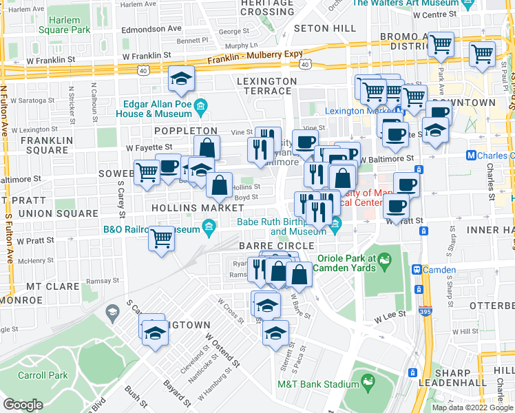 map of restaurants, bars, coffee shops, grocery stores, and more near 800 Lemmon Street in Baltimore
