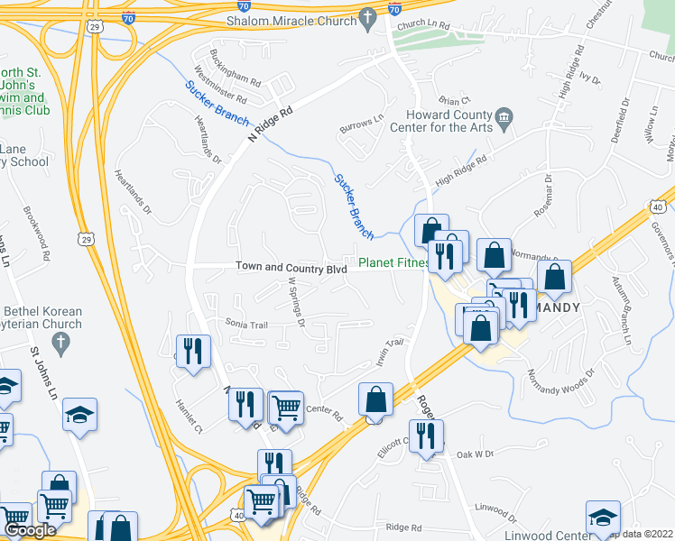 map of restaurants, bars, coffee shops, grocery stores, and more near 8701-8781 Town and Country Blvd in Ellicott City