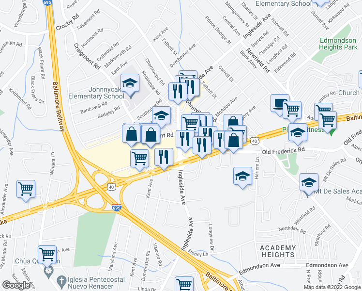 map of restaurants, bars, coffee shops, grocery stores, and more near 952-1002 Ingleside Avenue in Catonsville