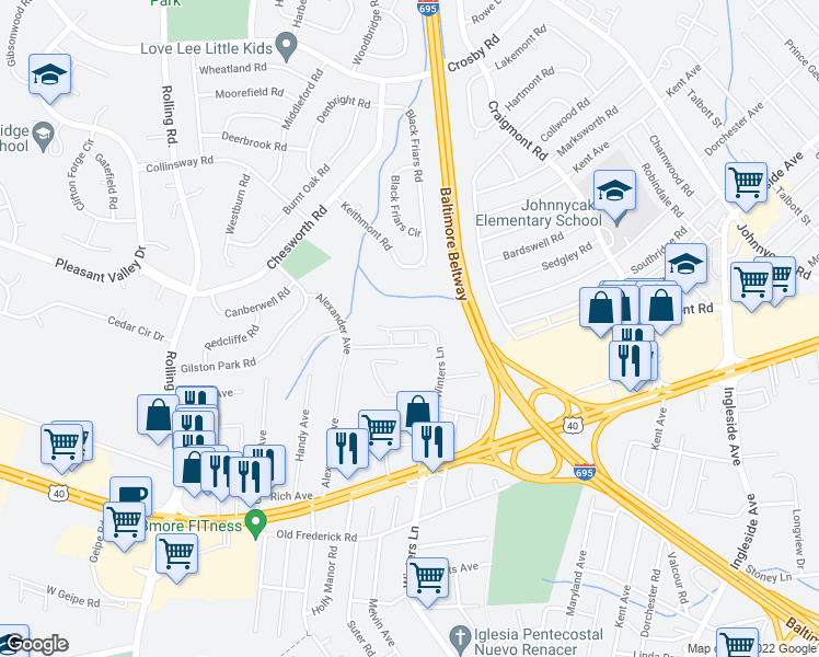 map of restaurants, bars, coffee shops, grocery stores, and more near 808-810 Winters Lane in Catonsville