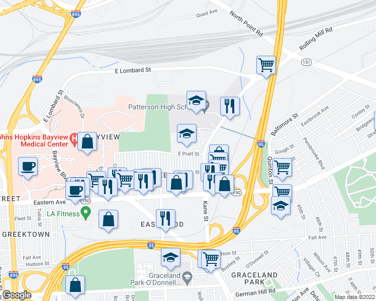 map of restaurants, bars, coffee shops, grocery stores, and more near 6400 East Pratt Street in Baltimore