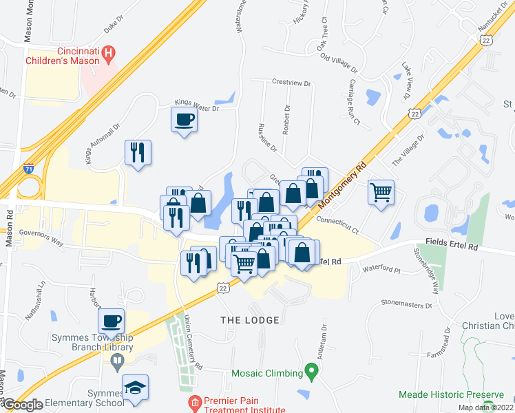 map of restaurants, bars, coffee shops, grocery stores, and more near 9991 Arbor Montgomery Ln in Loveland