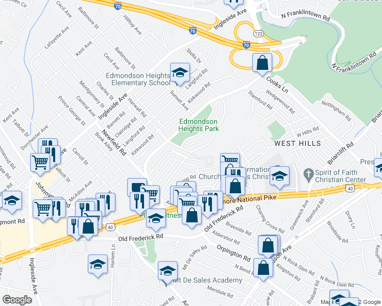 map of restaurants, bars, coffee shops, grocery stores, and more near 5446 Masefield Rd in Baltimore