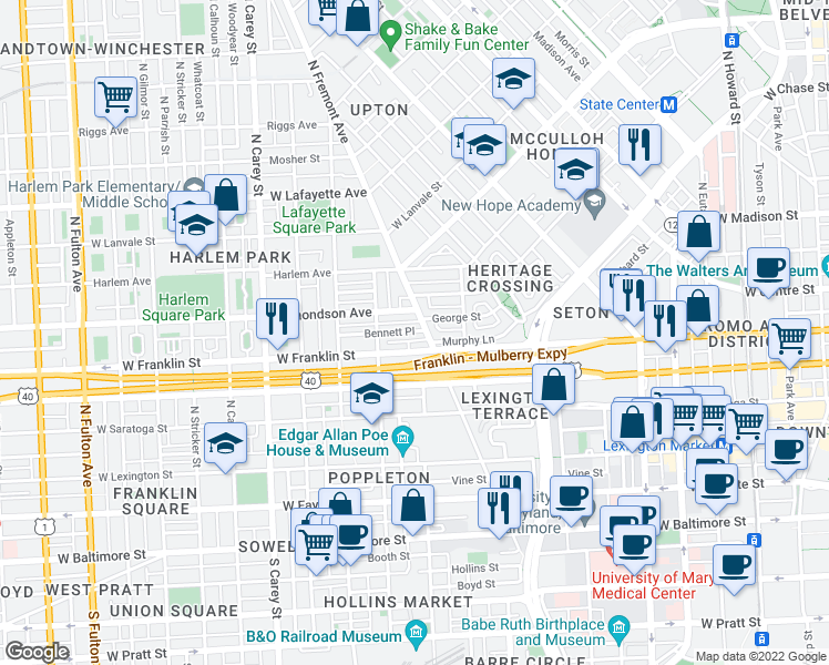 map of restaurants, bars, coffee shops, grocery stores, and more near 824 George St in Baltimore