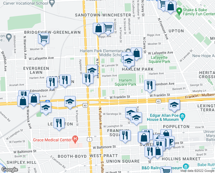 map of restaurants, bars, coffee shops, grocery stores, and more near 1626 Edmondson Avenue in Baltimore