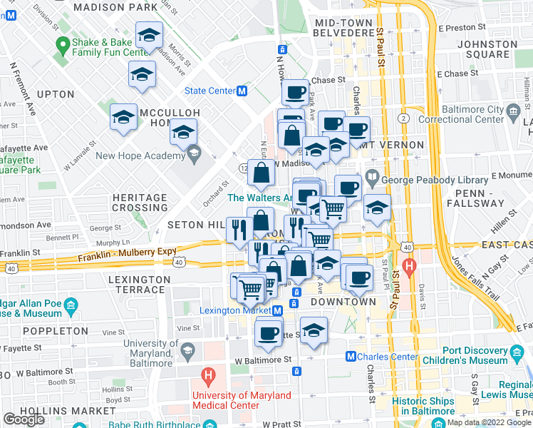 map of restaurants, bars, coffee shops, grocery stores, and more near 512 North Eutaw Street in Baltimore