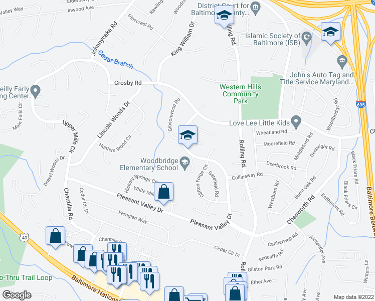 map of restaurants, bars, coffee shops, grocery stores, and more near 1408-1414 Pleasant Valley Drive in Catonsville
