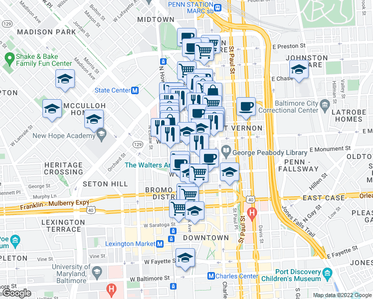 map of restaurants, bars, coffee shops, grocery stores, and more near in Baltimore