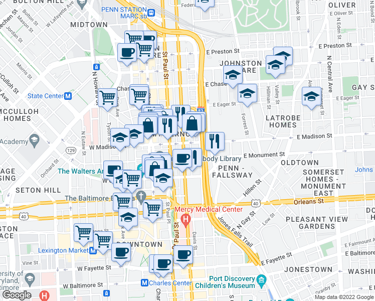 map of restaurants, bars, coffee shops, grocery stores, and more near 707 North Calvert Street in Baltimore