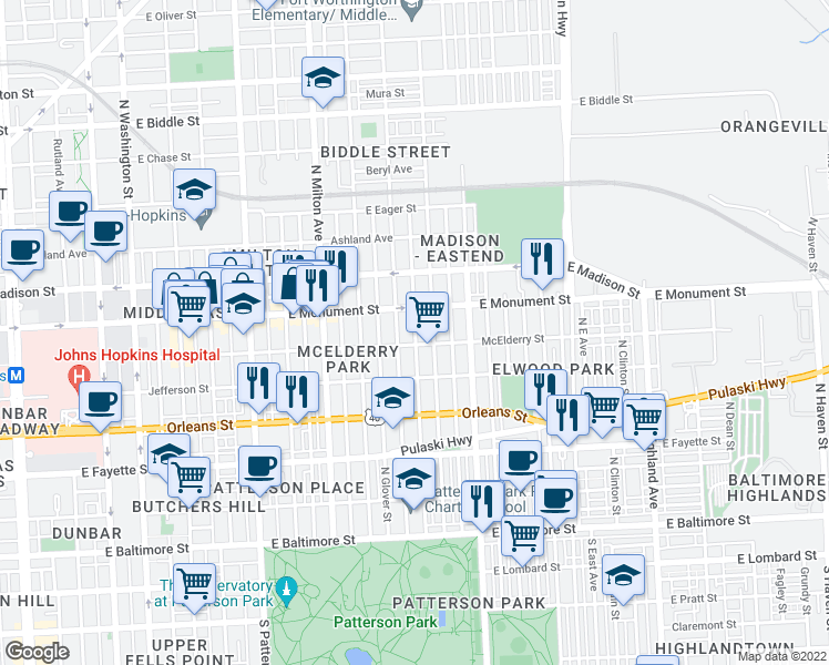 map of restaurants, bars, coffee shops, grocery stores, and more near 627 North Kenwood Avenue in Baltimore
