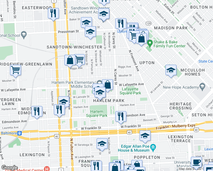 map of restaurants, bars, coffee shops, grocery stores, and more near 800-998 N Woodyear St in Baltimore
