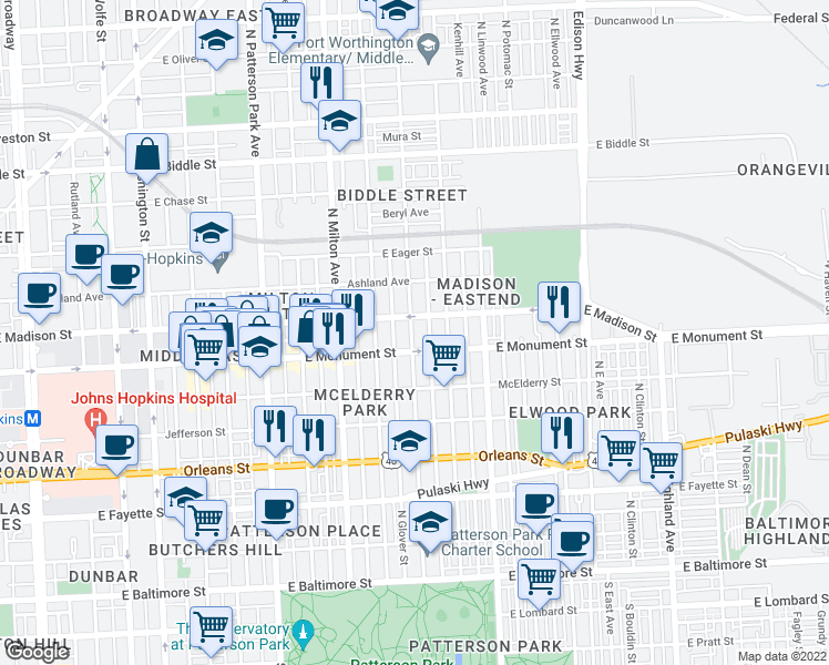 map of restaurants, bars, coffee shops, grocery stores, and more near 725 N Lakewood Ave in Baltimore