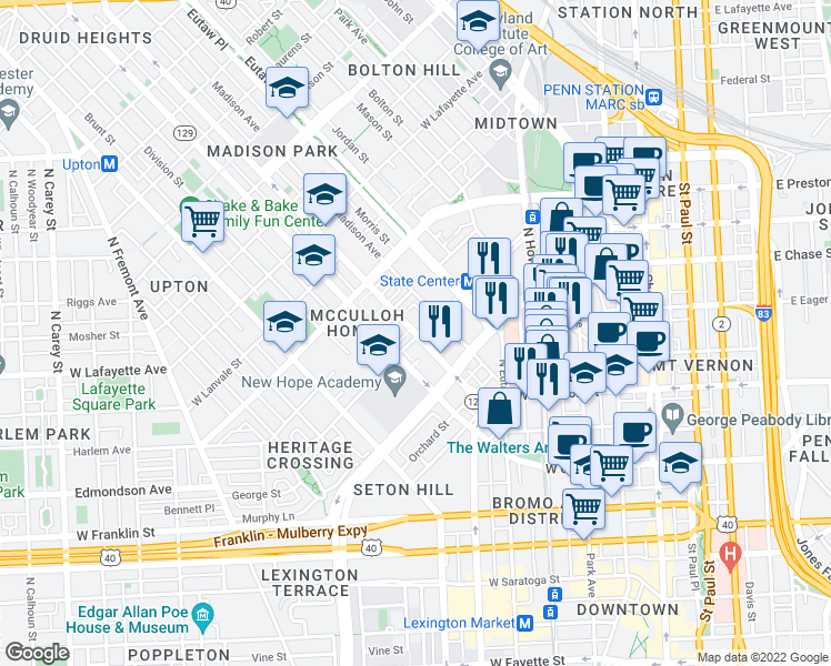 map of restaurants, bars, coffee shops, grocery stores, and more near McCulloh St in Baltimore