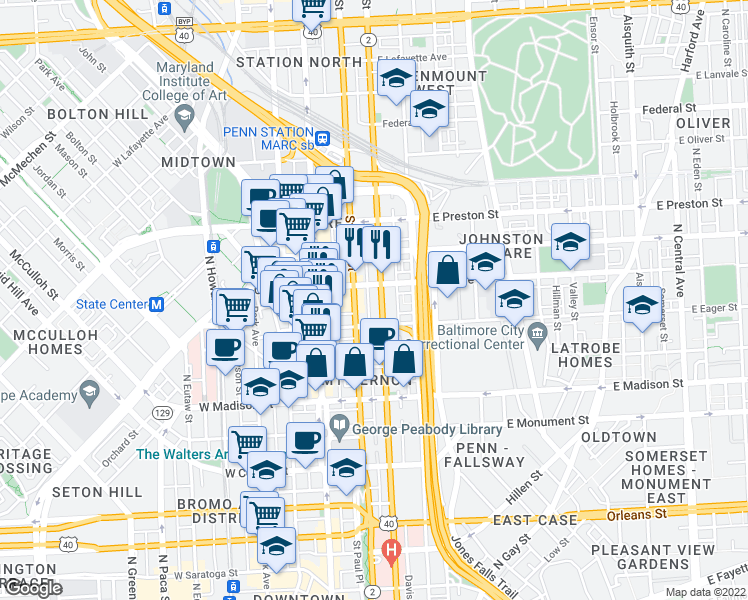 map of restaurants, bars, coffee shops, grocery stores, and more near 1028 N Calvert St in Baltimore
