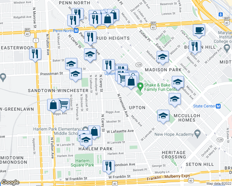 map of restaurants, bars, coffee shops, grocery stores, and more near 1211 North Fremont Avenue in Baltimore