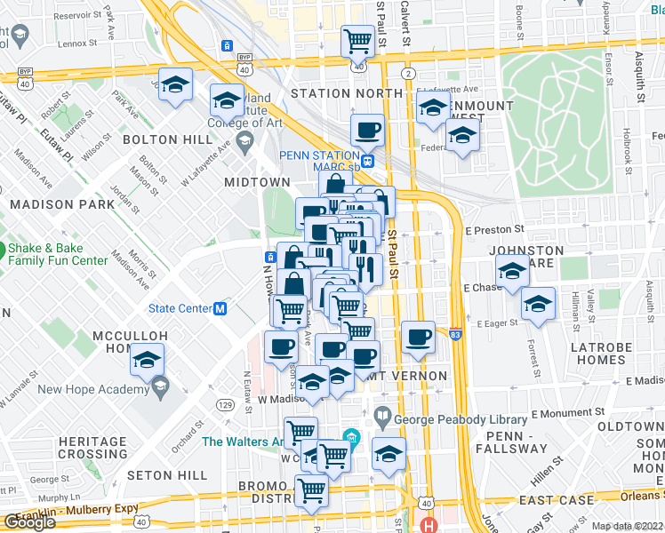 map of restaurants, bars, coffee shops, grocery stores, and more near Maryland Ave & W Biddle St in Baltimore
