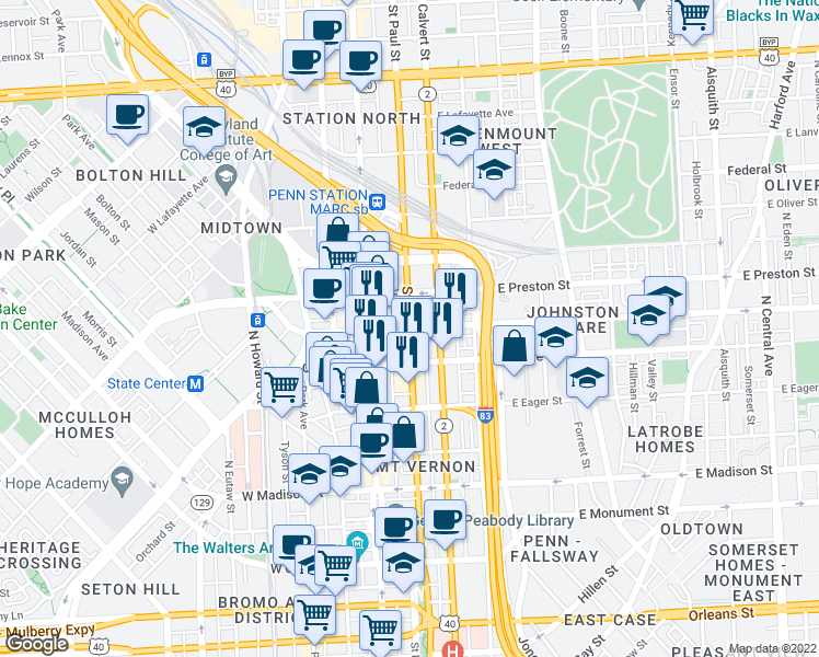 map of restaurants, bars, coffee shops, grocery stores, and more near St Paul St & E Biddle St in Baltimore