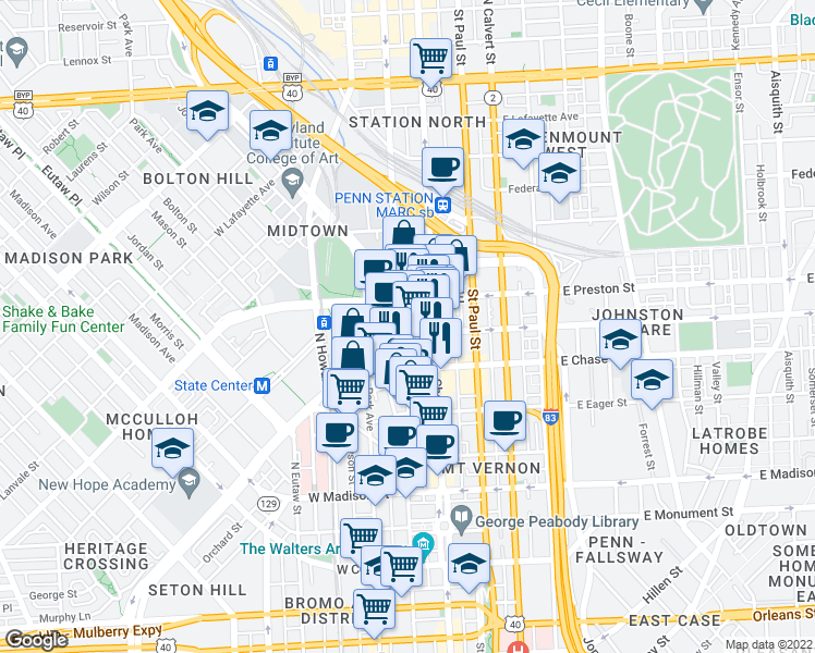 map of restaurants, bars, coffee shops, grocery stores, and more near 30 West Biddle Street in Baltimore