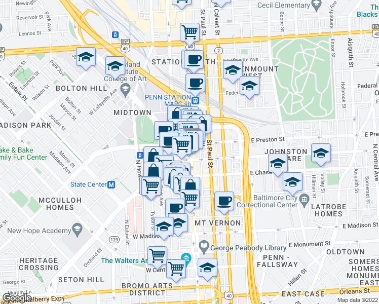 map of restaurants, bars, coffee shops, grocery stores, and more near 1214 North Charles Street in Baltimore