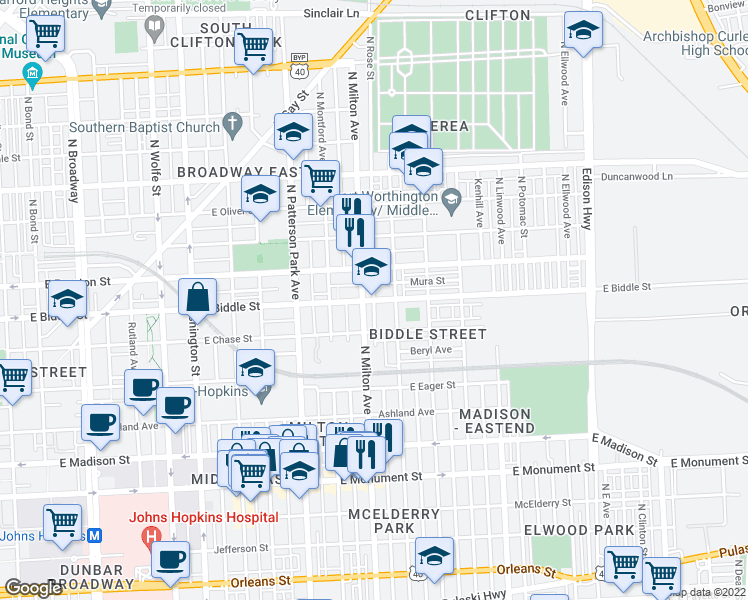 map of restaurants, bars, coffee shops, grocery stores, and more near 1141 North Milton Avenue in Baltimore