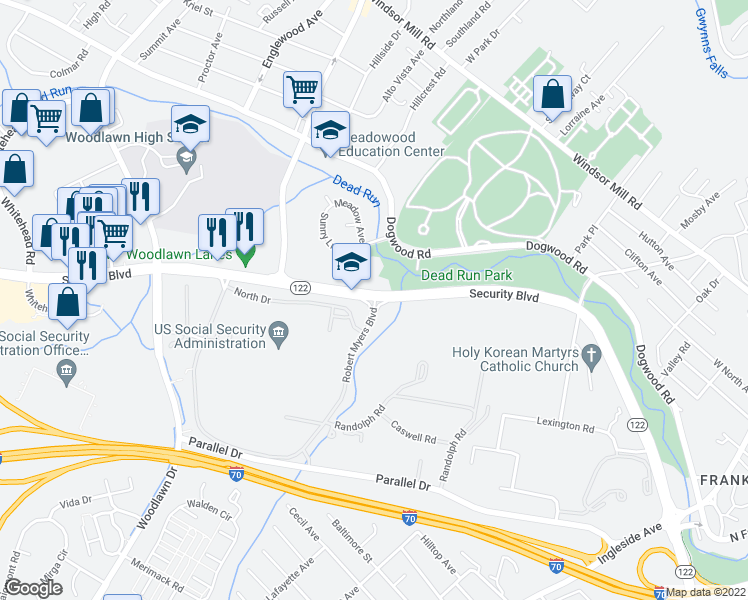 map of restaurants, bars, coffee shops, grocery stores, and more near 6210 Security Blvd in Woodlawn