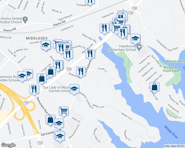map of restaurants, bars, coffee shops, grocery stores, and more near 3 Brett Court in Essex