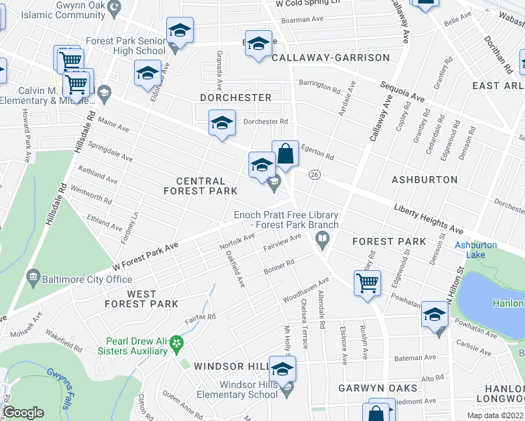 map of restaurants, bars, coffee shops, grocery stores, and more near W Forest Park Ave in Baltimore
