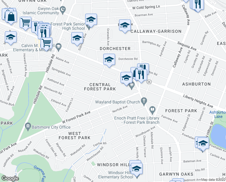 map of restaurants, bars, coffee shops, grocery stores, and more near 3313 Oakfield Avenue in Baltimore