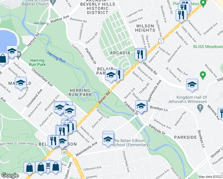 map of restaurants, bars, coffee shops, grocery stores, and more near Parkside Dr in Baltimore